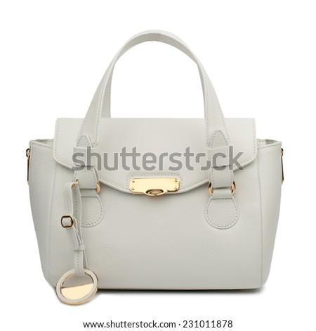 White female handbag isolated on white background. - stock photo