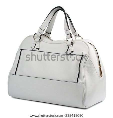 White female leather handbag isolated on white background. - stock photo