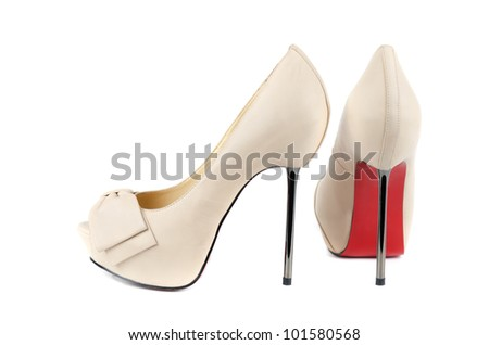 white female shoes on a white background - stock photo