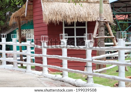 white fence in the farm - stock photo