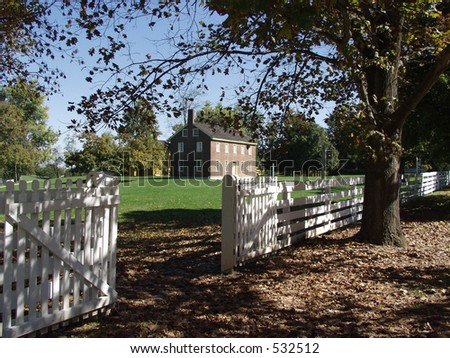 white fence Shaker Village, Pleasant Hill. Kentucky - stock photo