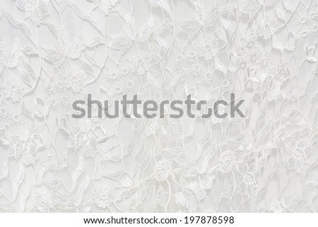 White filet lace, embroidery on cloth for wedding dress, texture - stock photo