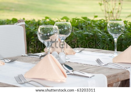 White Fine Table Setting. summer - stock photo