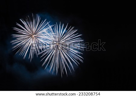 White fireworks with copy space - stock photo