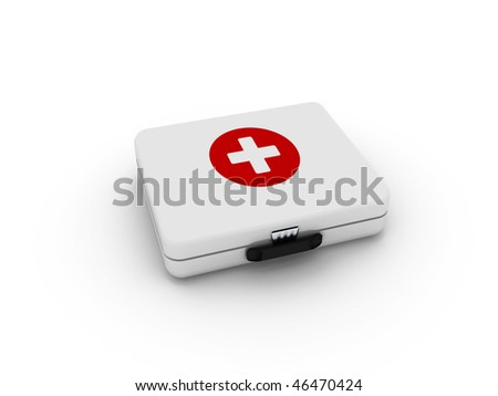 White first aid kit isolated on white background. High quality 3d render. - stock photo