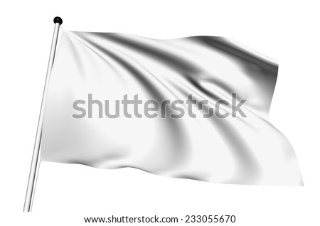 White flag with fabric structure on white background