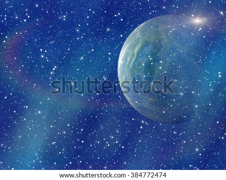 white flash of space planet. cosmos sky backgrounds. This is no nasa photo, this is render image - stock photo