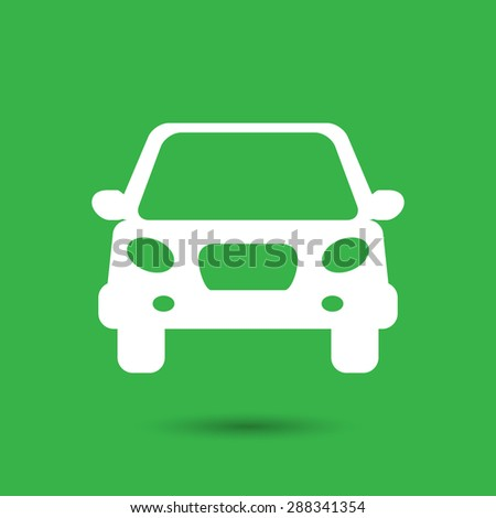 white flat car button icon on a green background - stock photo