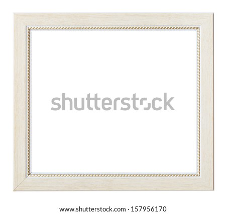 white flat horizontal picture frame with cutout canvas isolated on white background - stock photo
