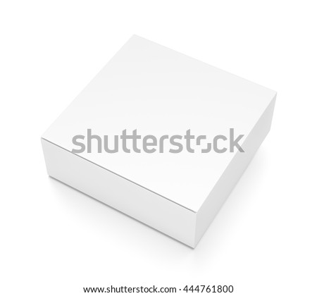 White flat horizontal rectangle blank box from top side angle. 3D illustration isolated on white background. - stock photo