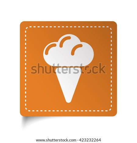 White flat Ice Cream icon on orange sticker - stock photo