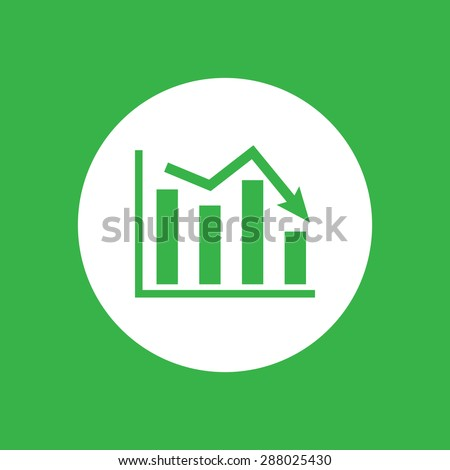 white flat icon of graph going down on a green background - stock photo