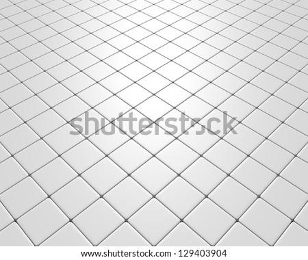 White fleeing mosaic with diamonds tiles - stock photo