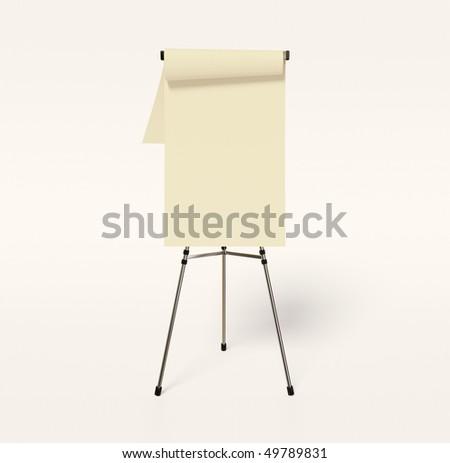 white flipchart on white background isolated - stock photo