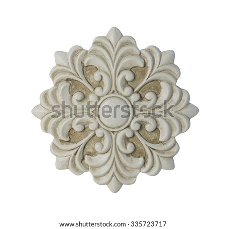 White floral decorative medallion - path included