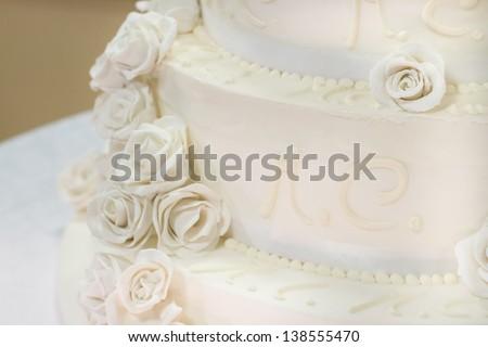 white floral wedding cake - stock photo