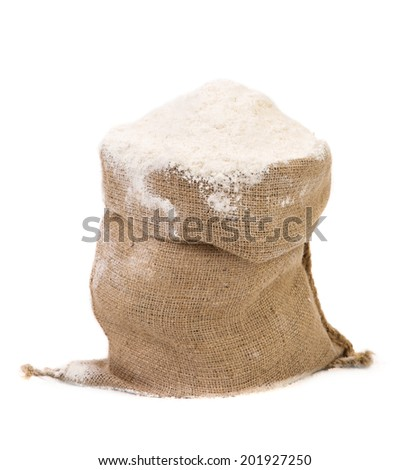 White flour. Isolated on a white background.