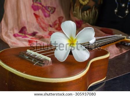 white flower plumeria or frangipani easily put on brown ukulele in vintage feeling background - stock photo