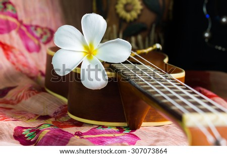 white flower plumeria or frangipani on brown ukulele in vintage and sea feeling - stock photo