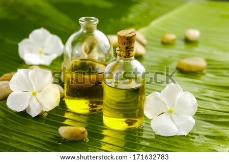 White flower with set of stones ,massage oil on banana leaf