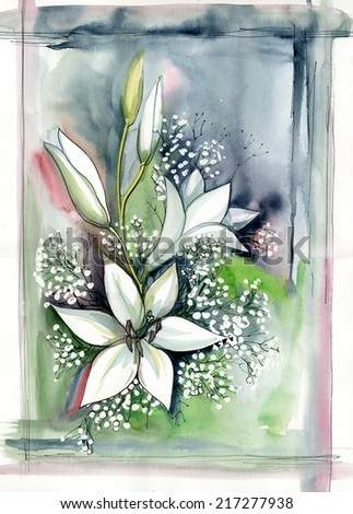 white flowers, - stock photo
