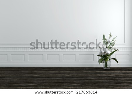 White Flowers in Vase in White Hallway with Copyspace - stock photo