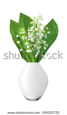 White flowers lilies of the valley in white vase isolated on white background - stock photo