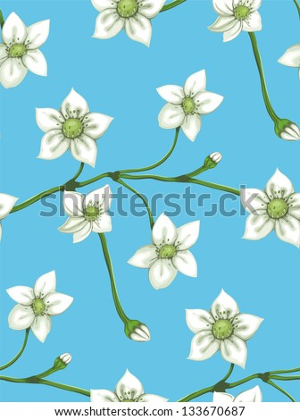 White Flowers on Twig Seamless Pattern. Raster variant.