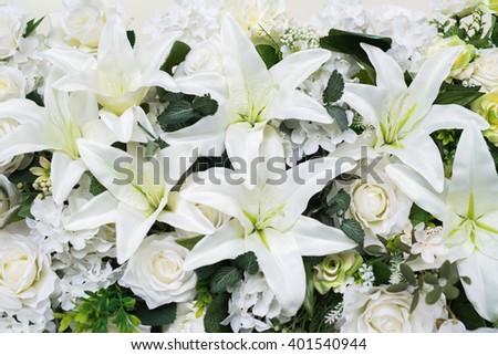 White flowers wedding - stock photo