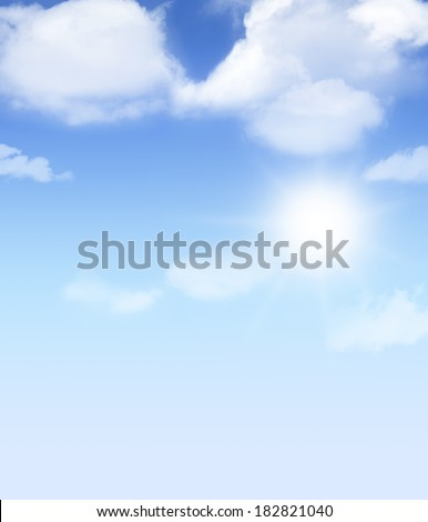 White fluffy clouds on blue