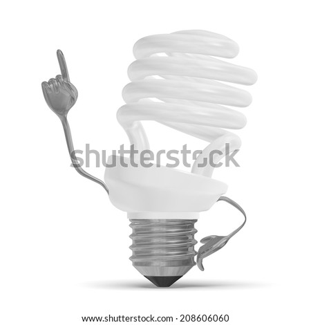 White fluorescent light bulb character in moment of insight isolated on white - stock photo