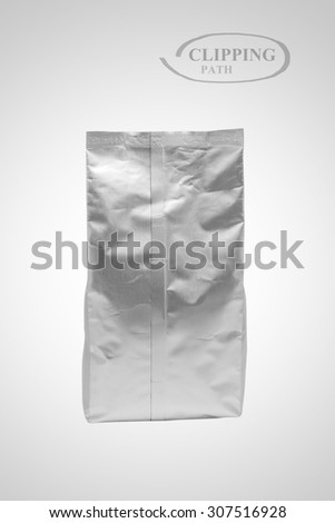White foil blank package bag on background (with Clipping Path)