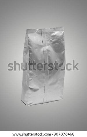 White foil blank package bag on background (with Clipping Path) - stock photo