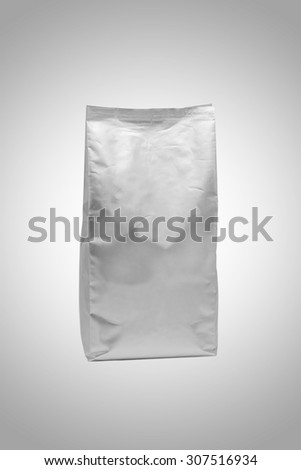 White foil blank package bag on grey background (with Clipping Path) - stock photo