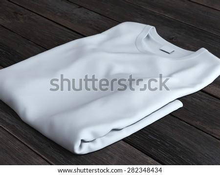 White folded t-shirt  - stock photo