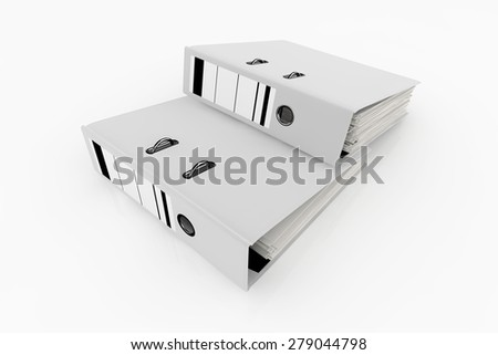 White folders isolated on white background - database storage concept.