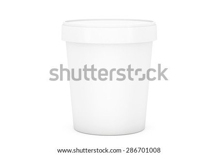 White Food Plastic Tub Bucket Container For Dessert, Yogurt, Ice Cream and Sour Sream on a white background
