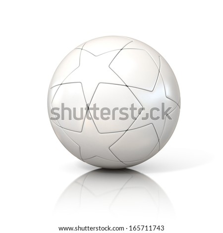 white football - soccer ball with star pattern isolated on white