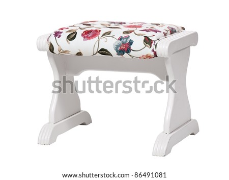 White footstool with floral print isolated. With clipping path. - stock photo