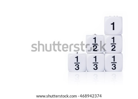 White fraction dices, whole, half, third, on white background with light reflection and copy space for text