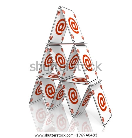 White  fragile address 3d graphic with balanced email icon  on a card house