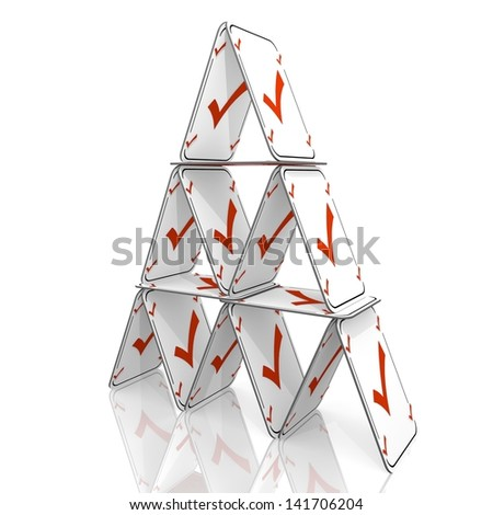 White  fragile metaphor 3d graphic with well done check sign  on a card house - stock photo
