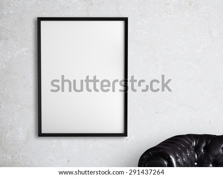 white frame hanging on a white wall - stock photo