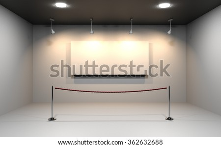 White frame in art gallery/Spotlights in gallery interior with blank frames on wall - stock photo