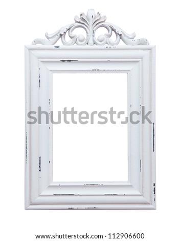 White frame isolated on white background - stock photo
