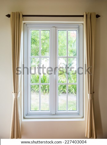 white frame window