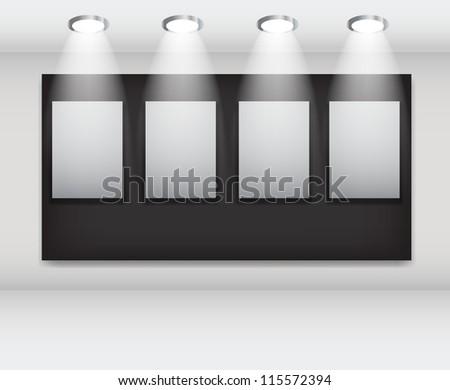White frames in art gallery  Raster version - stock photo