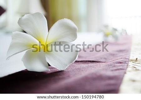 White frangipani on  hotel bed - stock photo