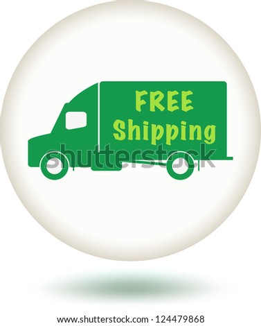 White Free Shipping Button with green truck.