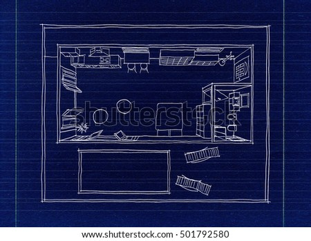 White Freehand Sketch Drawing Of Furnished Loft Apartment On Blueprint Paper